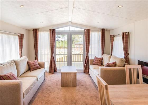 Inside the caravan at Deluxe 2 at Applegrove Country Park, Scarborough