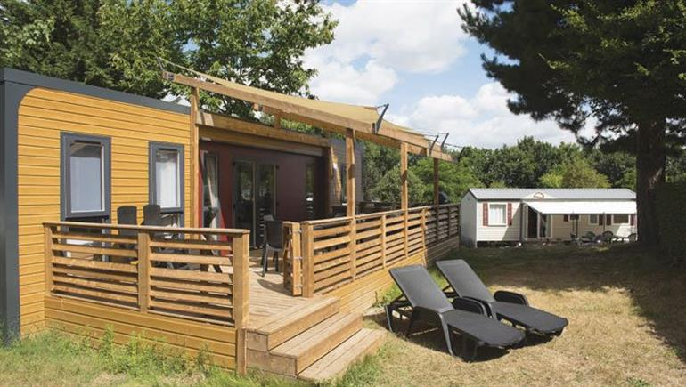 One of the holiday homes at La Garangeoire Campsite, St Julien-des-Landes in Vendee