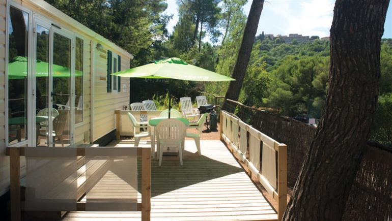 One of the holiday homes at Le Pianacce Campsite, Castagneto Carducci