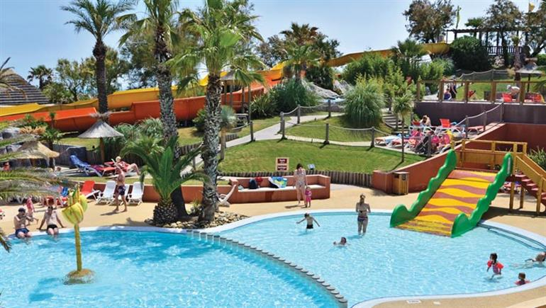 Swimming pool at Aloha Village campsite, Sérignan Plage in France