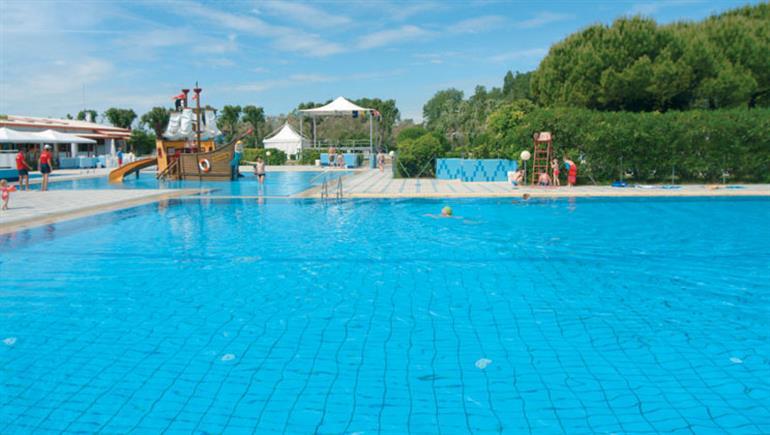 Swimming pool at Ca'Savio campsite, Cavallino-Treporti Adriatic in Italy