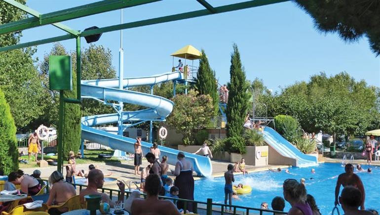 Swimming pool at Castell Montgri Campsite, Estartit Costa Brava