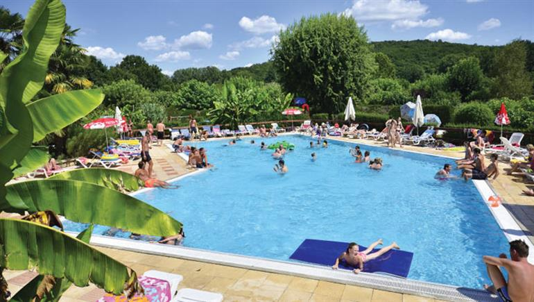 Swimming pool at Le Paradis campsite, Dordogne