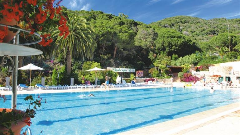 Swimming pool at Rosselba le Palme Campsite, Elba in Italy