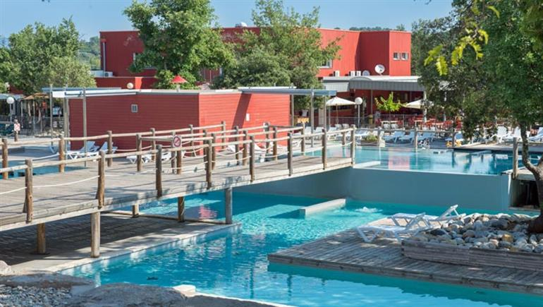 Swimming pools at Aluna Vacances campsite, Ruoms in France