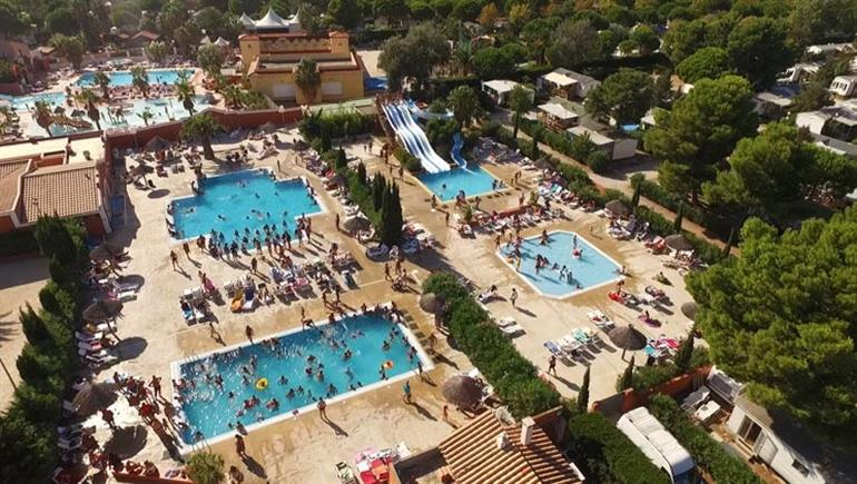 Swimming pools at Les Tropiques campsite, Torreilles Plages in France