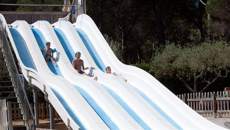 Water slides at Cypsela Campsite, Playa De Pals Costa Brava